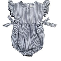 Navy Baby Sunsuit ,striped Ruffle sleeve baby romper with button ,baby birthday outfit ,baby coming outfit ,newborn kids clothes