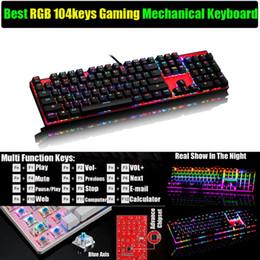 Teclado para juegos de luz de fondo azul en Línea-Original Blue Axis RGB Retroiluminación 104 teclas Multi Function Mechanical Gaming Teclado virtual ergonómico Anti-Ghosting Teclado