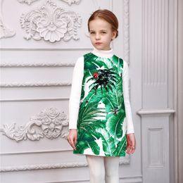 Wholesale Girls Dress Winter Children Brand Girls Dresses Princess Costume Green White Tropical Print Jewels Kids Dresses for Girls Clothes