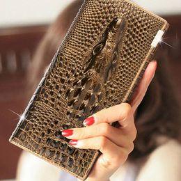 Descuento señoras monederos piel de vaca 100% cuero genuino del patrón del cocodrilo de la carpeta larga de las mujeres del zurriago del monedero del bolso de la señora noble de lujo de encargo personalizada del cocodrilo