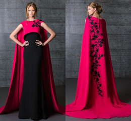 Black And Fushia Formal Satin Evening Dresses 2016 Wrapped Party Gowns Cape Sheath Emboridery Prom Gowns Custom Made