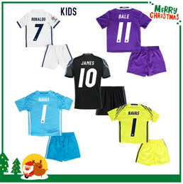 Wholesale 16 Real madrid kids boy kit Soccer Jersey Benzema NAVAS Ronaldo football Modric Kroos Sergio Ramos Bale Marcelo james shirts