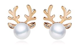 2016 Hot new style microscope antlers of pearl earrings stud manufacturer special offer wholesale 10pcs charms cheap nice fashion jewelry