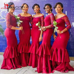 New Arrival Long Red Mermaid Bridesmaid Dresses 2017 Off the Shoulder Beaded Lace Scoop Neck 3 4 Sleeve Formal Wedding Party Dress Custom