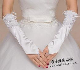 Wholesale The new Bride Wedding Dress Gloves Satin cloth hook refers to two flowers Bridal Gloves