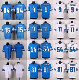 Wholesale 2016 Elite Mens Lions Matthew Stafford Golden Tate III Johnson Ezekiel Ansah Marvin Jones Blue Stitched Jerseys