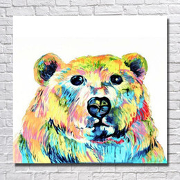 Wholesale 100 hand painted large size wild animal picture no framed cartoon beer oil painting cheap modern canvas art