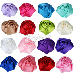 100Pcs / Lot Mini 4cm Satin Tissu Rose Fleurs Fleurs Rosette chefs pour bébé Enfants Bandeaux Accessoires cheveux à partir de tissu rose têtes fabricateur