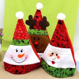 Wholesale DHL Cute creative Christmas Santa Claus Hats decorations Red with Shiny Snowflake Xmas Snowman Cap Headwear children gift
