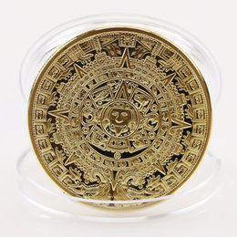 Wholesale 1x Gold Sliver Plated Mayan Aztec Calendar Souvenir Commemorative Coin Collection Gift