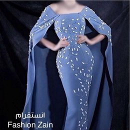 2016 Mermaid Evening Dress with Long Cloak Beteau Neck Crystal Beading Floor Length Arabic Prom Gowns