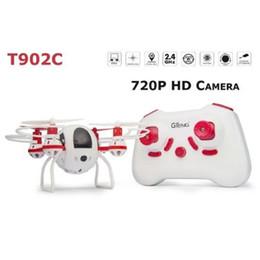 Promotion drones de caméras aériennes Gros-T902C mode Headless 2.4GHz One Key Retour Mini RC Quadcopter Drone w / 720P Caméra aérienne HD Aircraft Télécommande RTF