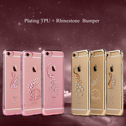 i6 4.7  Plus 5.5 Luxury Bling Rhinestone Crystal Clear Plating Case for iphone 6 6S Plus Back Transparent Diamond Soft TPU Cover