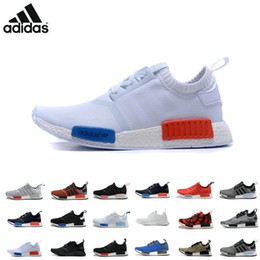 Wholesale Adidas NMD Runner Primeknit Black Red Blue Men s Sports Running Shoes all black all white flyknit athletic shoes plus size