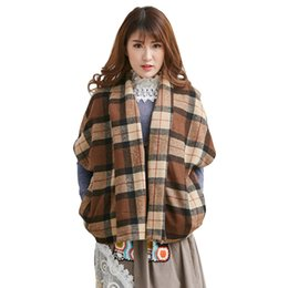 Wholesale 2016 Japanese Favorite Original Women Lattice Vintage Artistic Aesthetic Coat Mori Girl Covered Button Coffee Plaid Coat A029
