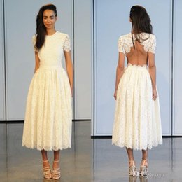 2017 Bohemia Full Lace Tea Length Wedding Dresses High Neck Cap Sleeves Backless Ivory Summer Beach Bridal Wedding Plus Size Gowns BA2318