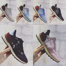 Valenting Men Women lace Sneakers trainers multicoloured leather studded shoes camo sneakers and studded shoes size 35-44
