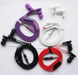 Wholesale Flat Noodle Stereo Headsets mm In Ear Earphones with Mic Earphone Headphone For iphone S PLUS samsung S7 S6 LG with retail package