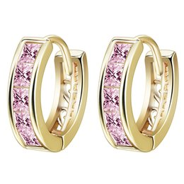 Wholesale Superior Trade Fashion Journey Earring Exquisite White Gold Plated Pink Cubic Zirconia Women S Hoop Huggie Earrings Screw