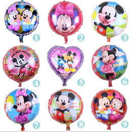 Wholesale Mickey Mouse balloons foil balloons For Wedding Birthday Party Decorations inch round Aluminum foil cartoon hydrogen ball L346