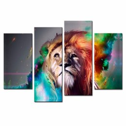 Wholesale LK4140 Panel Oil Painting Modern Abstract Art Colorful Lion Prints On Canvas Animal Wall Art Painting Pictures Print On Canvas Oil Paintin