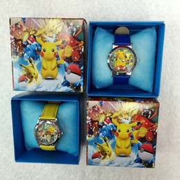 Wholesale Christmas Gifts Packaging Wholesale - Poke Watches with Gift Box Pikachu Wristwatches Retail Package Cartoon Watch Hot Selling Kids Children Wrist Watches Christmas Gift