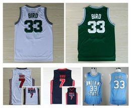 Wholesale Top Quality USA Dream Team Larry Bird Jersey Throwback Indiana State Sycamores Larry Bird College Jerseys Green White Navy Blue