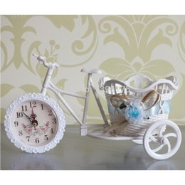 Wholesale 1pc Colors Flower tabletop vase Round Basket Big Wheel Rattan Tricycle Decorative Vases Single Side Clock Wedding Decoration