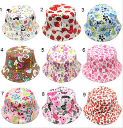 Wholesale 10pcs Bucket sun hat for girls kids baby summer hat pattern canvas material