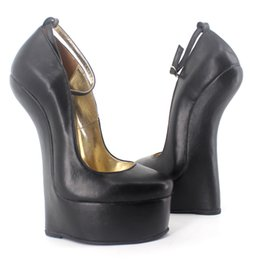 Wholesale Wonderheel Genuine leather pump EXTREME high HEEL CM heel women shoes Sexy fetish high Heels abnormal heels pump buckle strap