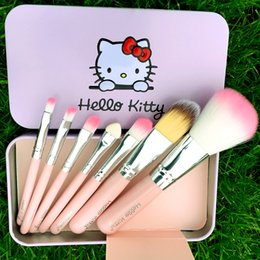 Wholesale NEW Black Hello Kitty Make Up Cosmetic Brush Kit Makeup Brushes Pink Iron Case Toiletry Beauty Appliances set DHL free