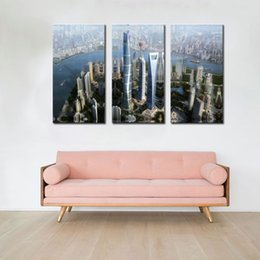 3 Picture Combination Canvas Print Wall Art Painting Wall Decor Shanghai High-Rise Building Scene For Home Modern Decoration