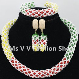 necklace sets yellow red green white Statement Necklaces crystal Sets Bridesmaids Lady Women's Prom Party Fashion Jewelry Earrings G01