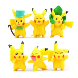 Wholesale 6 Kawaii Poke Figurine pikachu mon action figures toys baby dolls toys cm for cake models