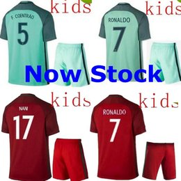 Wholesale 2016 EURO Cup Portugal jersey CHILDS KIDS NANI RONALDO MIGUEL F COENTRAO SHIRTS season KIDS DIY top jersey WHOLESLAE NEWS