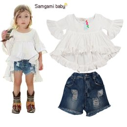 Wholesale 2016 Fashion Summer Baby Girls clothing sets ins fashion trend dovetail cotton baby girl suit t shirts denim shorts
