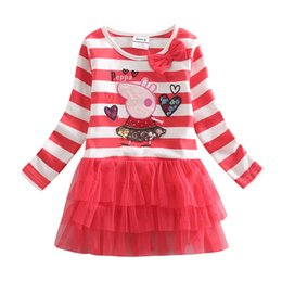 Wholesale Winter Baby Girls Winter Dress Tutu Skirt Kids Stripes Dress for Girls Lace Skirt with Bow Cartoon Pig Embroidered Party Dress H4211