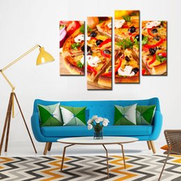 4 Picture Combination Canvas Print Wall Art Painting Of Black Olive Pizza Paintings The Picture For Living Room Wall Decoration