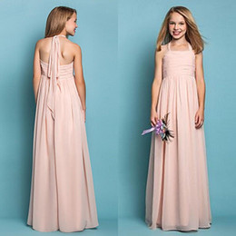 Cheap High Quality Chiffon Junior Bridesmaid Dresses Blush Pink Halter Flower Girl Gowns Wedding Party Guests Long Formal Dresses