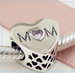 2016 Mother's Day 925 Sterling Silver Mother Heart Charm Bead with Pink CZ Fits European Pandora Style Jewelry Bracelets & Necklace