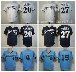 Wholesale 2016 Milwaukee Brewers Robin Yount Baseball Jerseys Game Sports Jonathan Lucroy Carlos Gomez Throwback Navy Blue White Best Quality