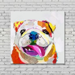 Pure Hand Painted contemporary WALL DECOR Abstract Dog Animal Art Oil Painting Quality Canvas.customized size accepted 5ju