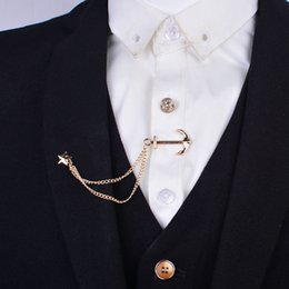 England men's tie clip chain brooch dress suit shirt tie clip tie navy wind anchor