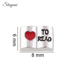 Wholesale Alloy Floating Locket Charm Love Story Book with Heart to Read Floating Charm Pendant for Living Glass Locket Bracelet Necklace