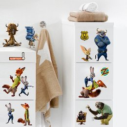 Wholesale PrettyBaby Zootopia figures Wall Stickers models supported children cartoon style DIY home decoration