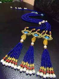 Wholesale Lapis Pearl Jewelry - Natural Lapis lazuli Necklace Sweater Chain Beeswax with Pearl jewelry gifts mother's day
