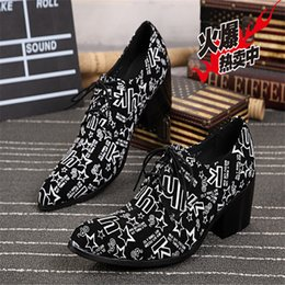 Men's shoes leather black white graffiti shoes men casual business shoes wedding shoes stage lace Oxford Oxford