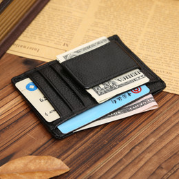 Wholesale front pocket men purse wallet genuine leather Multi functional card holder money clip mens wallet