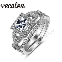 Vecalon 2016 Brand Design Engagement wedding ring Set for women 1ct Simulated diamond Cz 925 Sterling Silver Female Band ring