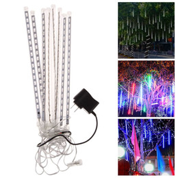 8pcs  Set 30cm Multicolor Led Meteor Tube Rain Shower Light Snowfall Tube Light With Power Adapter Waterproof